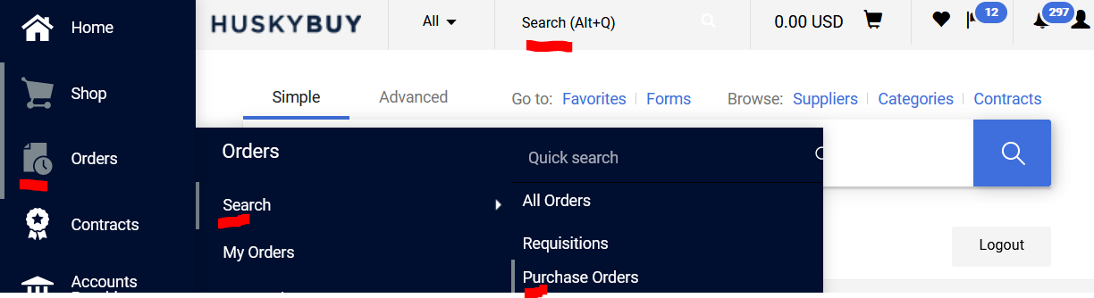 huskybuy search